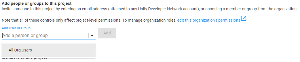 Unity Project Add Members Page
