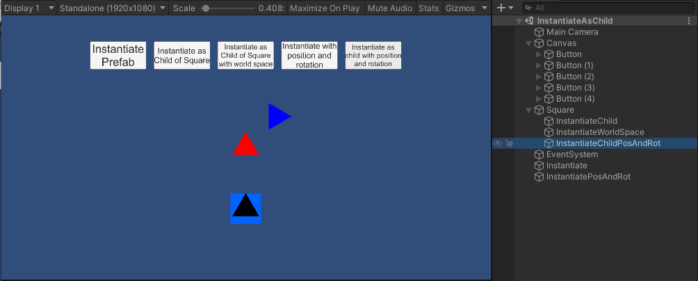 Instantiating a prefab of the blue triangle as a child of gameobject with position and rotation