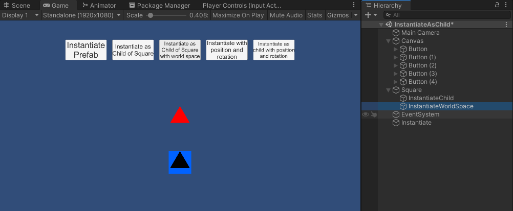 Instantiating a prefab of the red triangle as a child of the square gameobject in world space