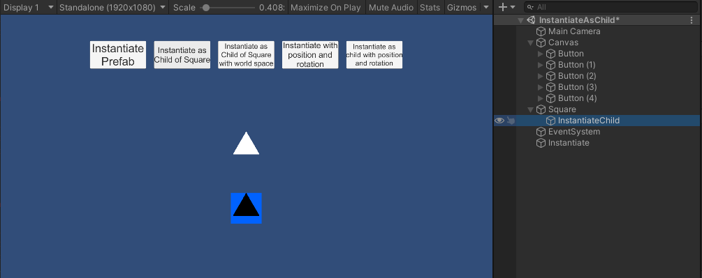 Instantiating a prefab of the black triangle as a child of the square gameobject.