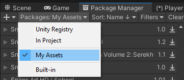 Unity Asset Store download assets location