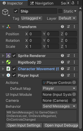 top down player input component